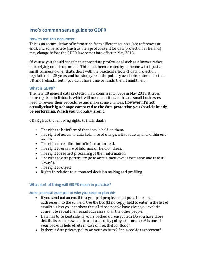 Gdpr the imo guide draft 2