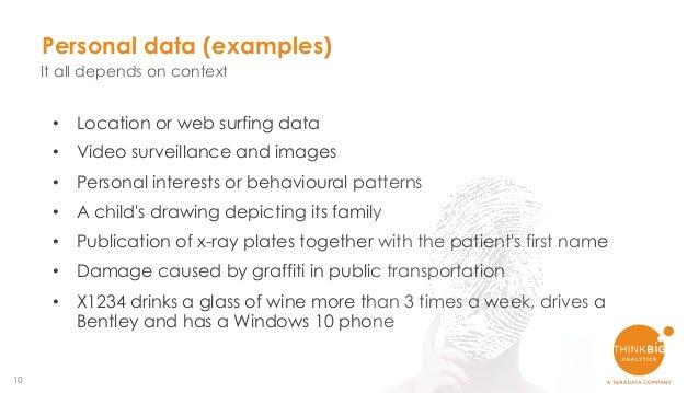 10 Personal data (examples) It all depends on context • Location or web surfing data • Video surveillance and images • Per...