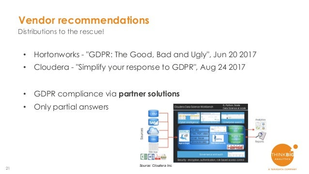 """21 Vendor recommendations Distributions to the rescue! • Hortonworks - """"GDPR: The Good, Bad and Ugly"""", Jun 20 2017 • Cloud..."""