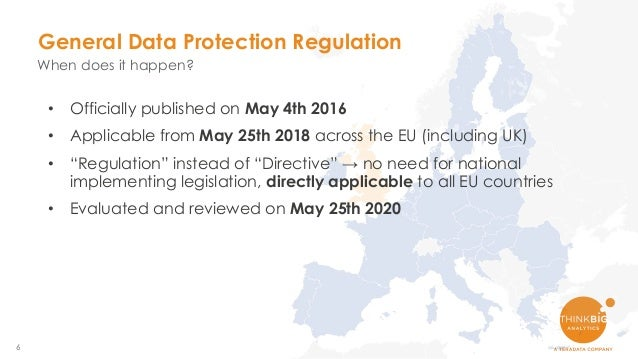 """6 • Officially published on May 4th 2016 • Applicable from May 25th 2018 across the EU (including UK) • """"Regulation"""" inste..."""