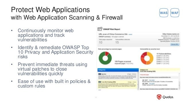 Protect Web Applications with Web Application Scanning & Firewall • Continuously monitor web applications and track vulner...