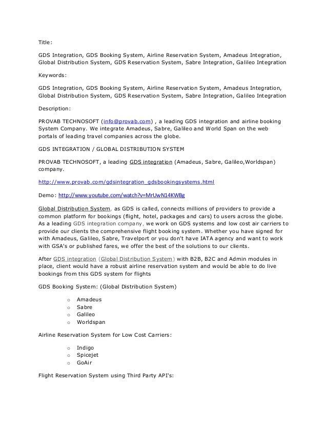 Title:GDS Integration, GDS Booking System, Airline Reservation System, Amadeus Integration,Global Distribution System, GDS...