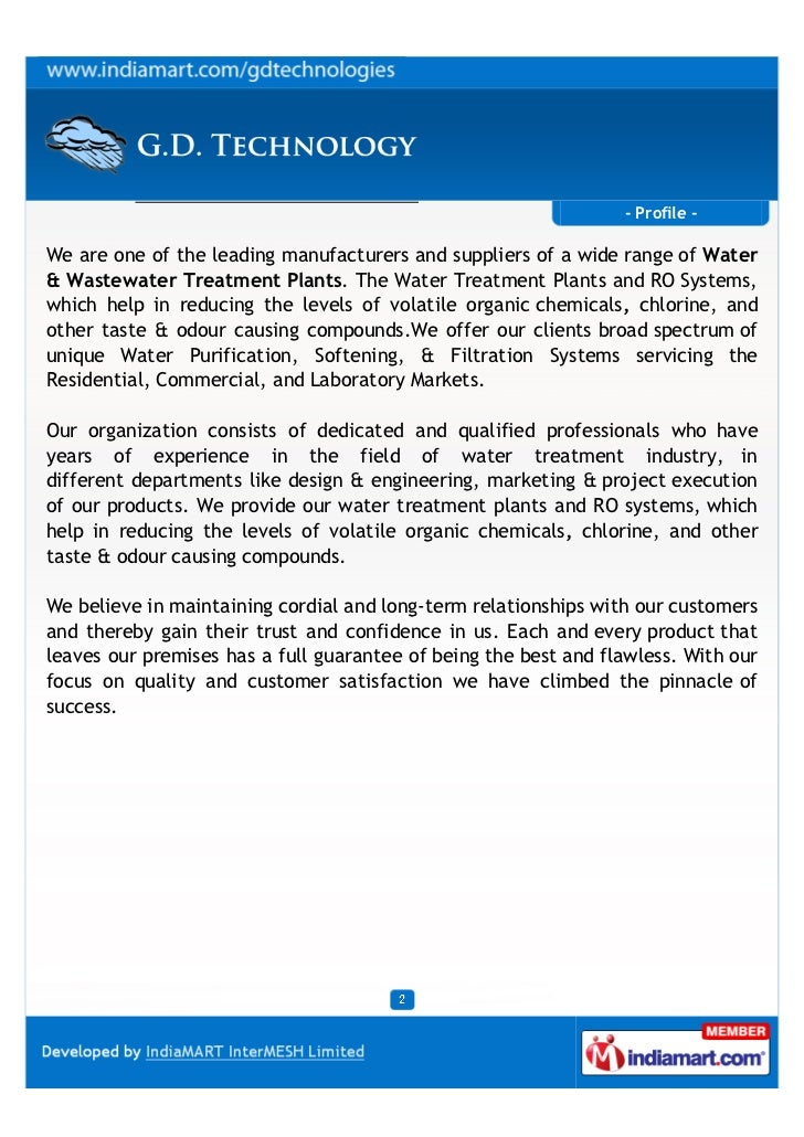 - Profile -We are one of the leading manufacturers and suppliers of a wide range of Water& Wastewater Treatment Plants. Th...