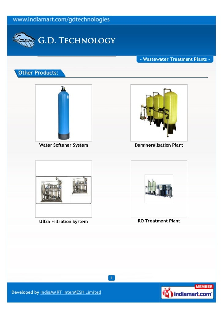 - Wastewater Treatment Plants -Other Products:       Water Softener System     Demineralisation Plant       Ultra Filtrati...