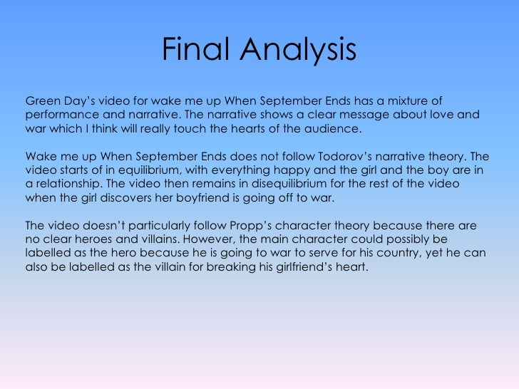 wake me up music analysis Wake me up when september ends marc chandler marc to market follow following  filter by topic or author in analysis results wake me up when september ends.