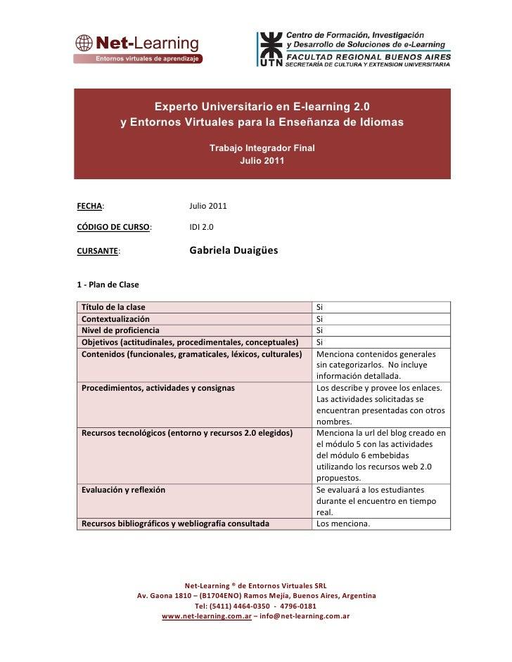 Experto Universitario en E-learning 2.0           y Entornos Virtuales para la Enseñanza de Idiomas                       ...