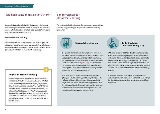 6 Sonderformen der Unfallversicherung Für bestimmte Bedürfnisse oder Berufsgruppen werden einige spezielle Ausgestaltungen...
