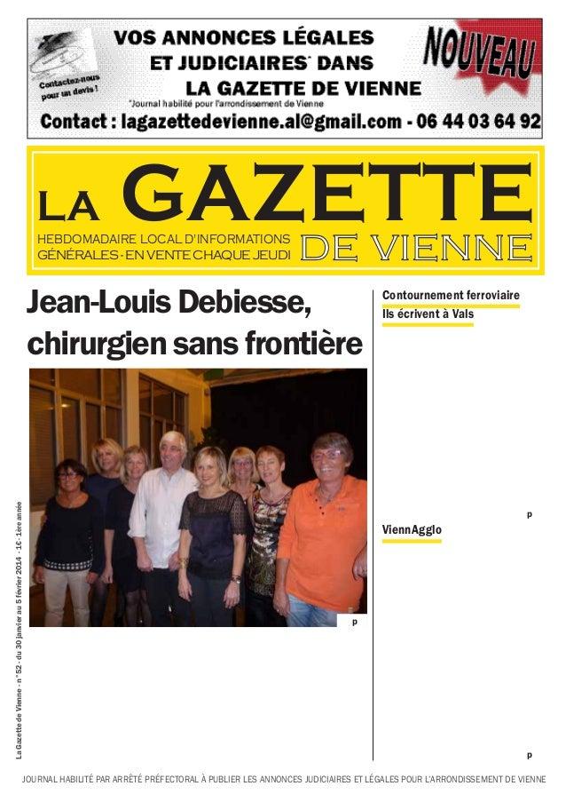 LA  GAZETTE de vienne  HEBDOMADAIRE LOCAL D'INFORMATIONS GÉNÉRALES - EN VENTE CHAQUE JEUDI  La Gazette de Vienne - n°52 - ...