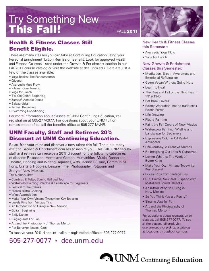 Try Something NewThis Fall!                                                          FALL 2011Health & Fitness Classes Sti...