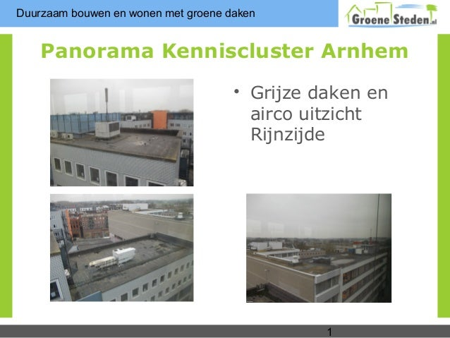 Duurzaam bouwen en wonen met groene daken    Panorama Kenniscluster Arnhem                                     • Grijze da...