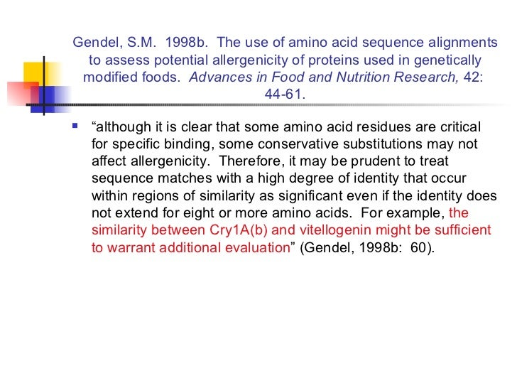 Gendel, S.M.  1998b.  The use of amino acid sequence alignments to assess potential allergenicity of proteins used in gene...