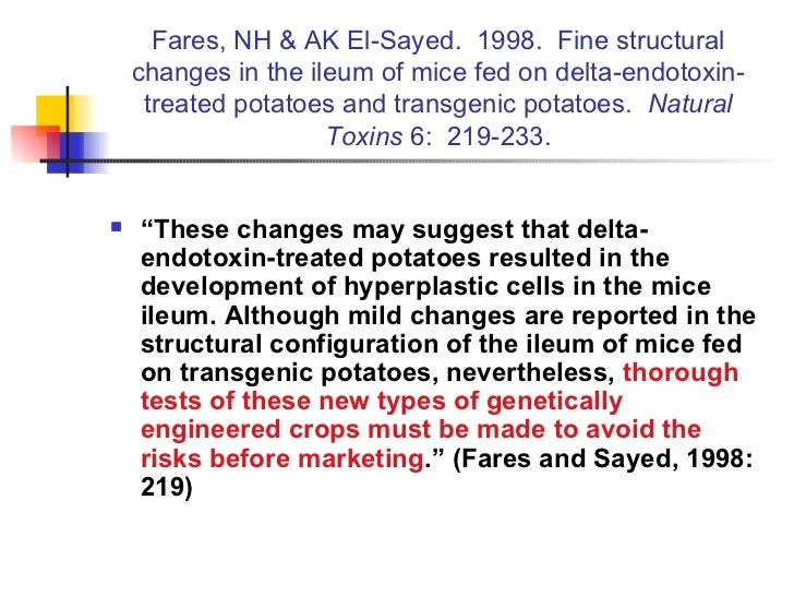 Fares, NH & AK El-Sayed.  1998.  Fine structural changes in the ileum of mice fed on delta-endotoxin-treated potatoes and ...