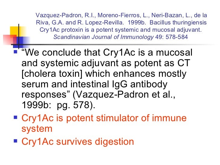 Vazquez-Padron, R.I., Moreno-Fierros, L., Neri-Bazan, L., de la Riva, G.A. and R. Lopez-Revilla.  1999b.  Bacillus thuring...