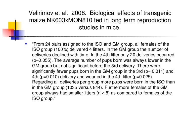 Velirimov et al.  2008.  Biological effects of transgenic maize NK603xMON810 fed in long term reproduction studies in mice...