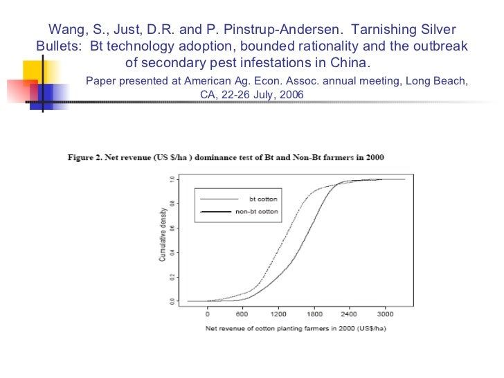 Wang, S., Just, D.R. and P. Pinstrup-Andersen.  Tarnishing Silver Bullets:  Bt technology adoption, bounded rationality an...
