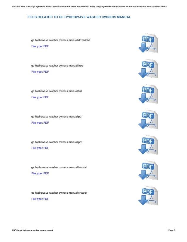 ge hydrowave washer owners manual rh slideshare net GE Profile Washing Machine ge hydrowave washer service manual