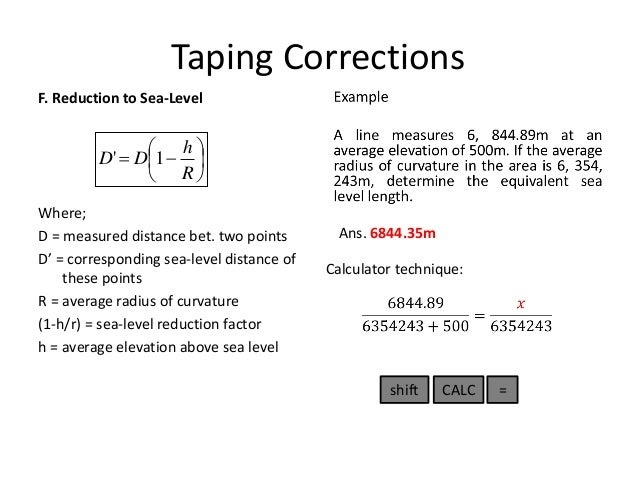 Ge Lecture TAPING CORRECTION By Broddett B Abatayo - Above sea level calculator