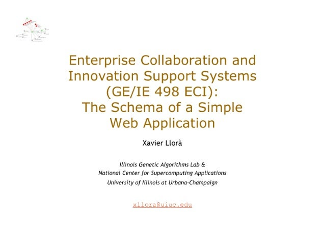 Enterprise Collaboration and Innovation Support Systems (GE/ IE 498 ECI):   The Schema of a Simple Web Application  Xavier...