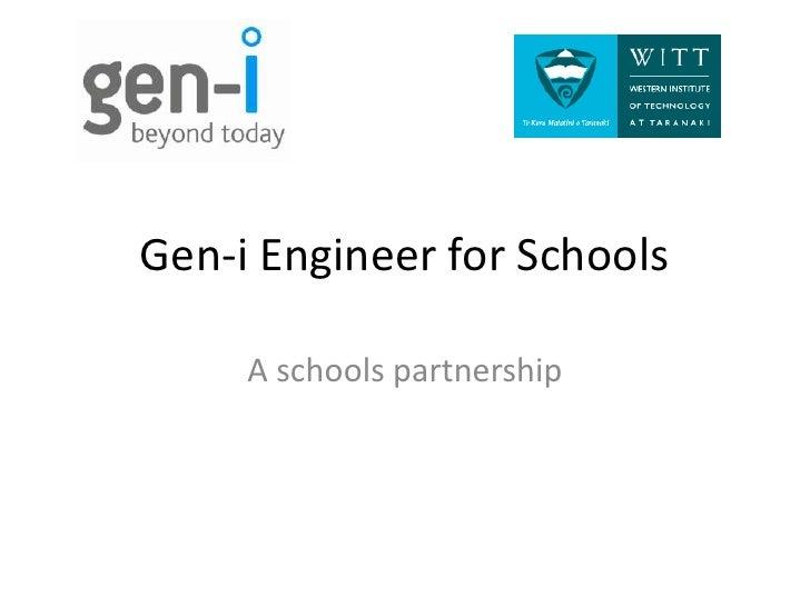 Gen-i Engineer for Schools<br />A schools partnership<br />