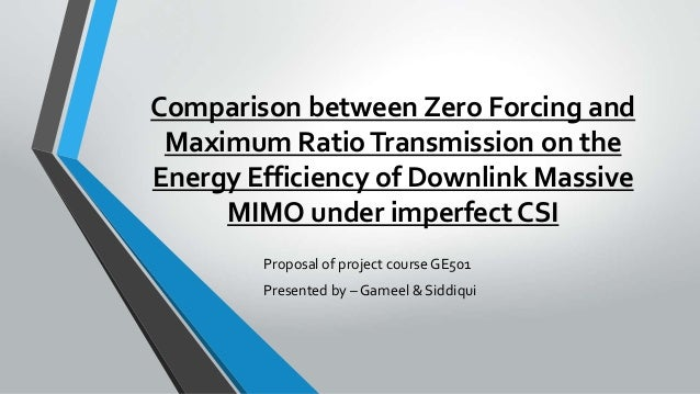Comparison between Zero Forcing and Maximum RatioTransmission on the Energy Efficiency of Downlink Massive MIMO under impe...