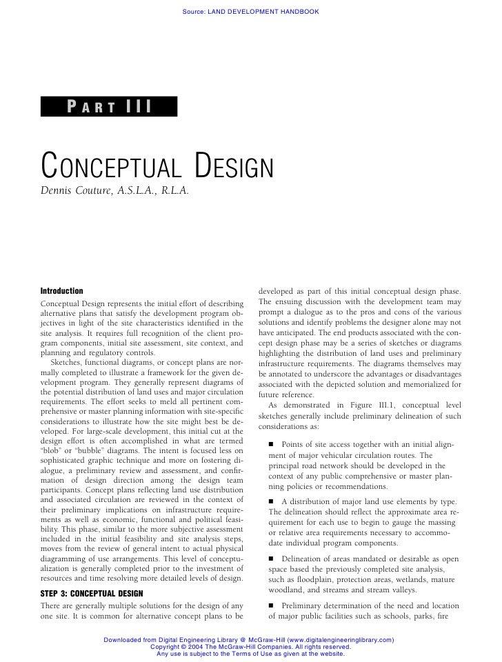 Source: LAND DEVELOPMENT HANDBOOK             PART III   CONCEPTUAL DESIGN Dennis Couture, A.S.L.A., R.L.A.     Introducti...
