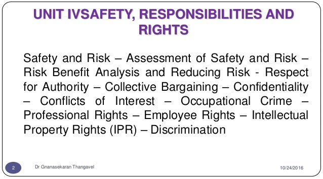 UNIT IVSAFETY RESPONSIBILITIES AND RIGHTS Safety And Risk Assessment