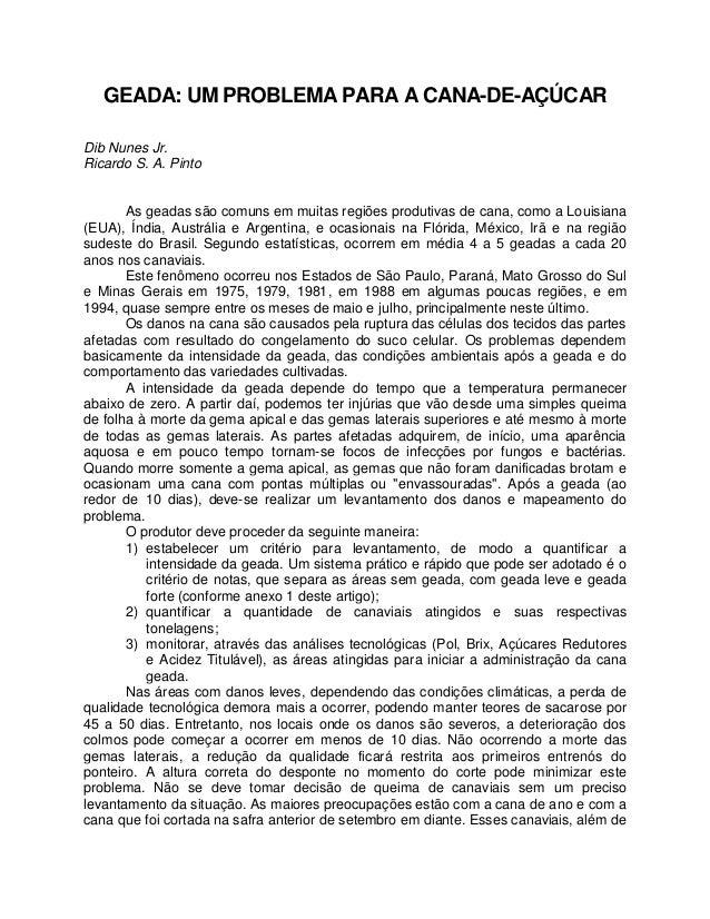 GEADA: UM PROBLEMA PARA A CANA-DE-AÇÚCAR Dib Nunes Jr. Ricardo S. A. Pinto As geadas são comuns em muitas regiões produtiv...