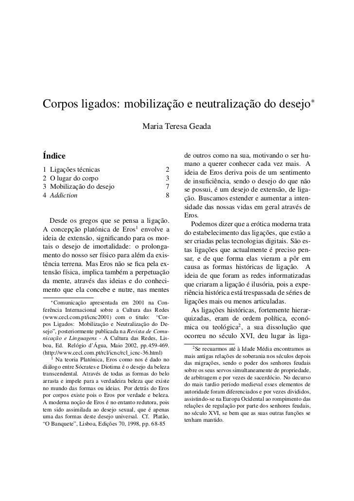 Corpos ligados: mobilização e neutralização do desejo∗                                         Maria Teresa GeadaÍndice   ...