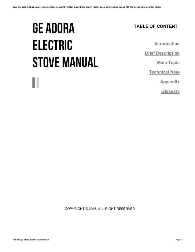 Bestseller: Ge Adora Electric Range Manual