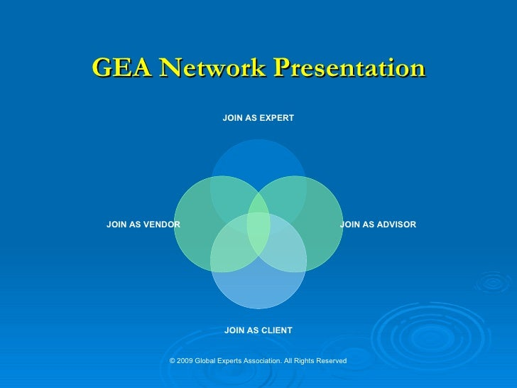 GEA Network Presentation © 2009 Global Experts Association. All Rights Reserved JOIN AS EXPERT JOIN AS ADVISOR JOIN AS CLI...