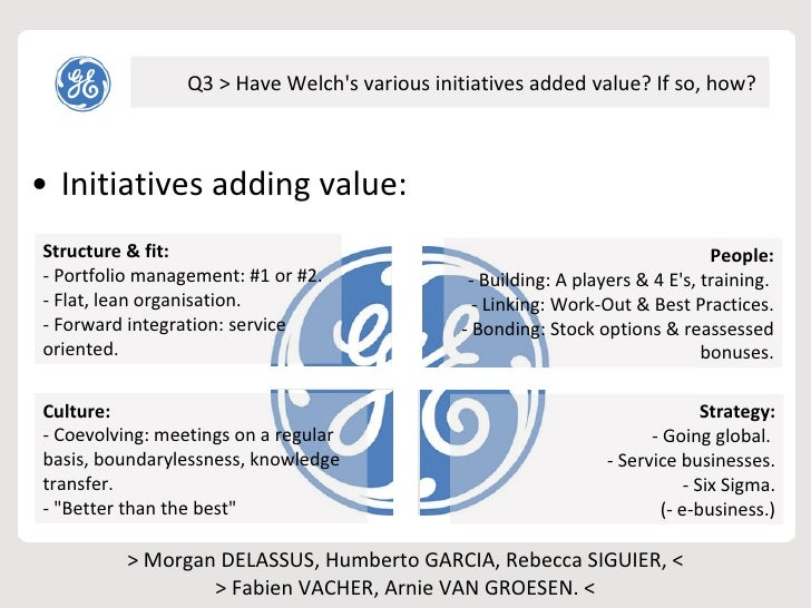 how jack welch initiatives added value Overview ge is faced with jack welch's impending retirement and whether anyone can sustain the blistering pace of change and growth characteristic of the welch era.