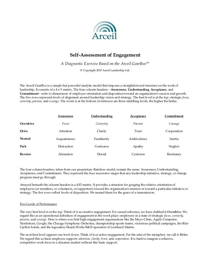 Self-Assessment of Engagement                               A Diagnostic Exercise Based on the Arceil GearBox™            ...