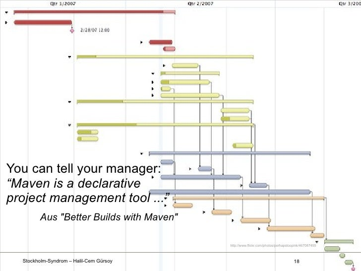 """You can tell your manager:""""Maven is a declarativeproject management tool ...""""        Aus """"Better Builds with Maven""""       ..."""