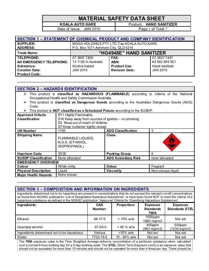 Material Safety Data Sheet P 533 Liquid Hand Soap Anti Bac Koya