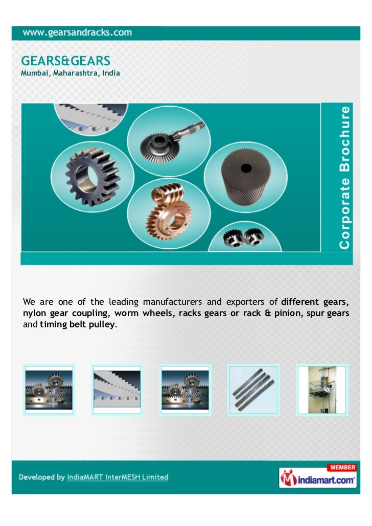 GEARS&GEARSMumbai, Maharashtra, IndiaWe are one of the leading manufacturers and exporters of different gears,nylon gear c...