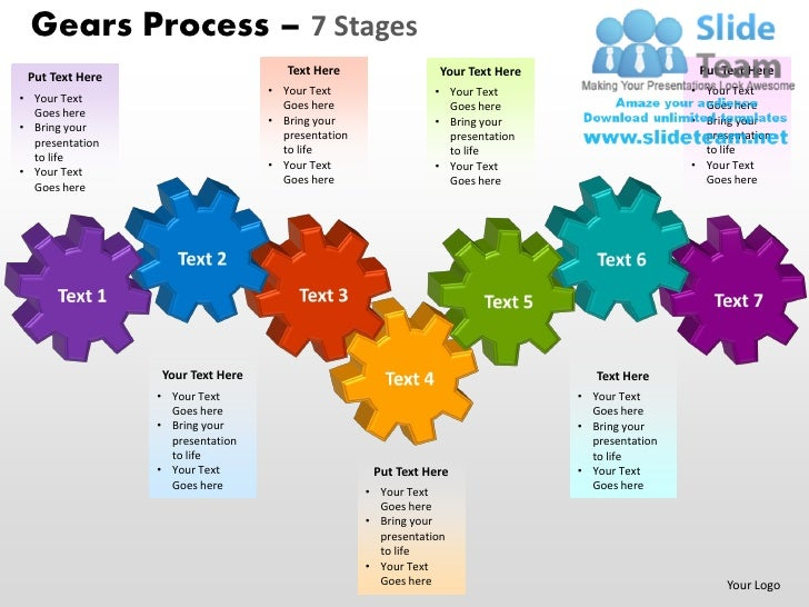 Gears Process 7 Stages Powerpoint Slides Ppt Templates