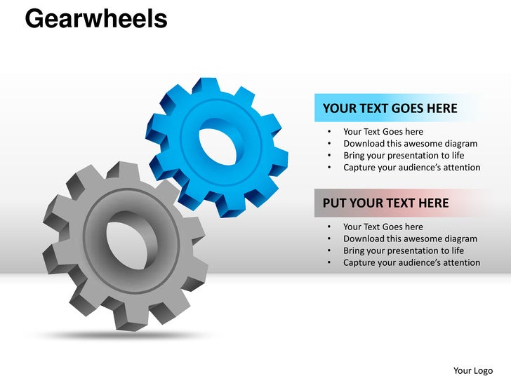 Gearwheels             YOUR TEXT GOES HERE             •   Your Text Goes here             •   Download this awesome diagr...