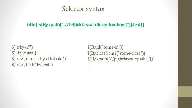 """dynamicallyAdded(wait:true){$(""""p.dynamic"""")} dynamicallyAdded(wait:5,required:false){$(""""p.dynamic"""")} cachedValue(cache:true..."""