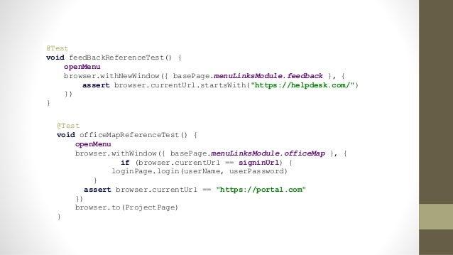 "task chromeTest(type: Test) { systemProperty ""geb.env"", ""chrome"" systemProperty ""webdriver.chrome.driver"", ""driverschromed..."