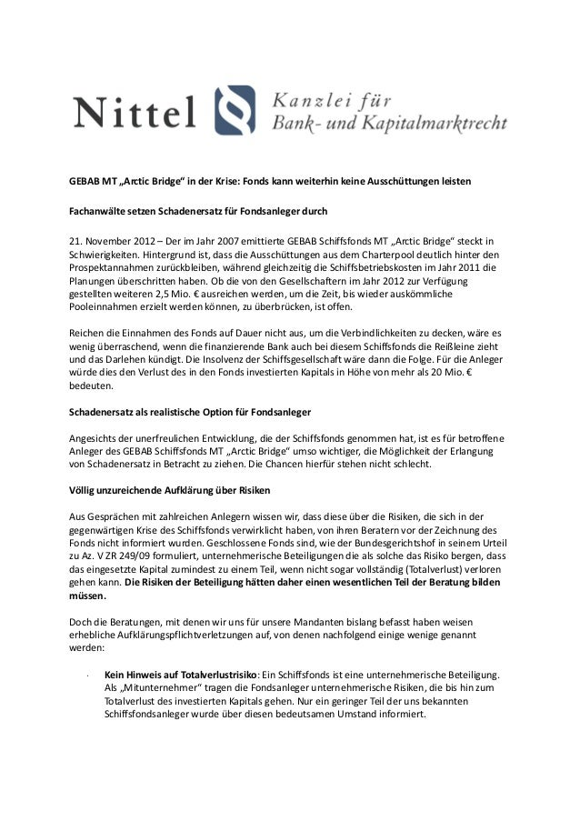 """GEBAB MT """"Arctic Bridge"""" in der Krise: Fonds kann weiterhin keine Ausschüttungen leistenFachanwälte setzen Schadenersatz f..."""