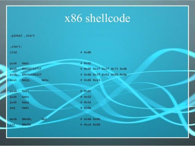 x86 shellcode .global _start _start: cltd # 0x99 push %edx # 0x52 push $0x68732f2f # 0x68 0x2f 0x2f 0x73 0x68 push $0x6e69...
