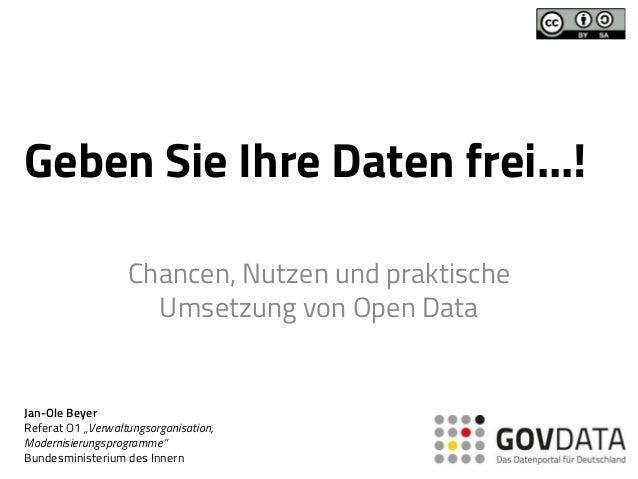 """Geben Sie Ihre Daten frei...! Chancen, Nutzen und praktische Umsetzung von Open Data Jan-Ole Beyer Referat O1 """"Verwaltungs..."""