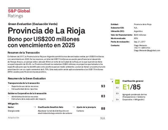 Green Evaluation (Evaluación Verde) Provincia de La Rioja Bono por US$200 millones con vencimiento en 2025 Resumen de la T...