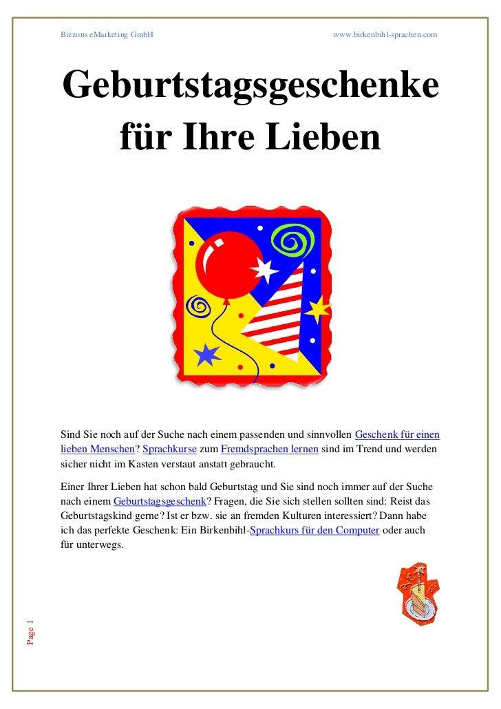 Bizzons eMarketing GmbH                                      www.birkenbihl-sprachen.com         Geburtstagsgeschenke     ...
