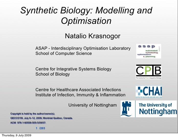Synthetic Biology: Modelling and                         Optimisation                                                   Na...
