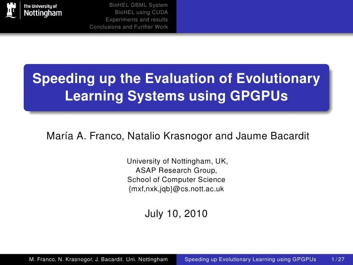 BioHEL GBML System                                BioHEL using CUDA                            Experiments and results    ...