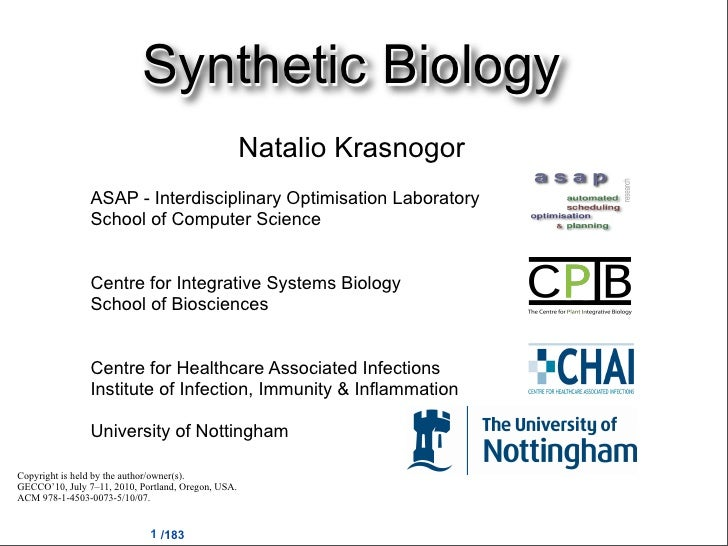 Synthetic Biology                                                     Natalio Krasnogor                 ASAP - Interdiscip...
