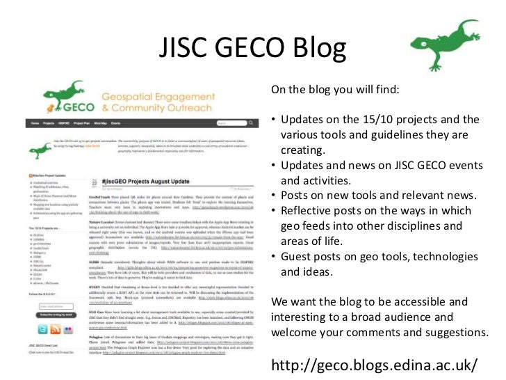 JISC GECO Blog<br />On the blog you will find:<br /><ul><li>Updates on the 15/10 projects and the various tools and guidel...