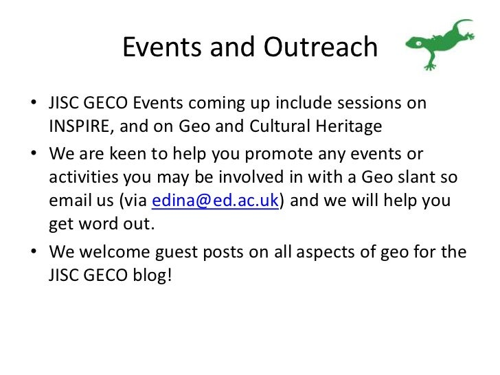 Updates and news on JISC GECO events and activities.