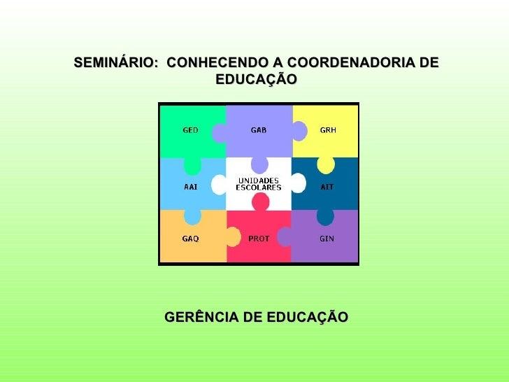 SEMINÁRIO: CONHECENDO A COORDENADORIA DE                EDUCAÇÃO         GERÊNCIA DE EDUCAÇÃO